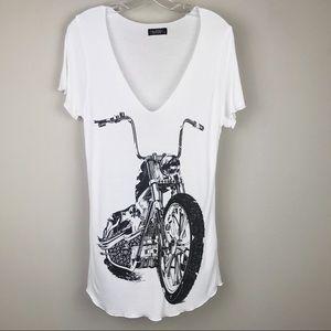 Lauren Moshi T-Shirt Top White Black Motorcycle